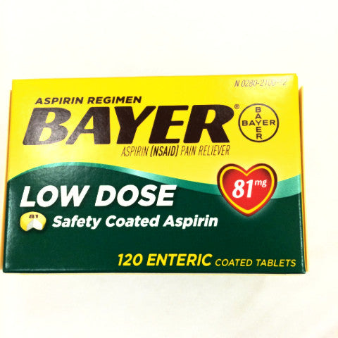 Bayer Aspirin (NSAID) Low Dose Pain Reliever - 81mg tablets - 120ct