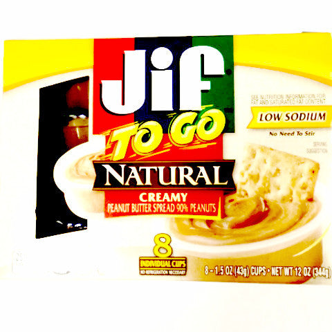 Jif Natural Peanut Butter To Go - 8 ct/12 oz total