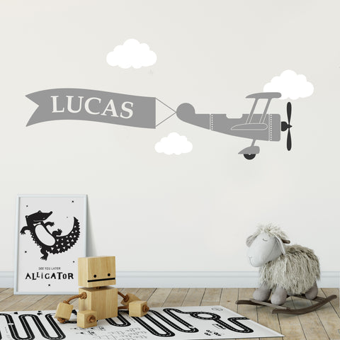 Custom Plane Banner Children's Wall Sticker