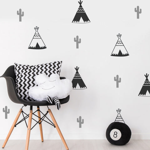 18 x Teepee Cactus Children's Wall Sticker