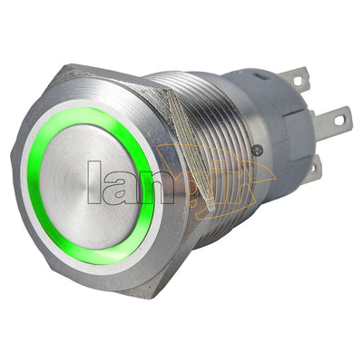 19mm Ring Illuminated 1NO1NC Stainless Steel Anti vandal switch