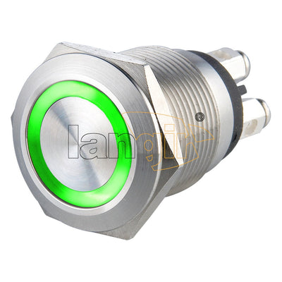 19mm Micro-trip 1NO Momentary 0.5A 24VDC Screw Terminal Illuminated Anti Vandal Switch