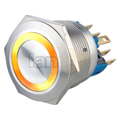 L22 (22mm)  5A 250VAC Ring Illuminated Latching or Momentary 1NO1NC Anti vandal switch