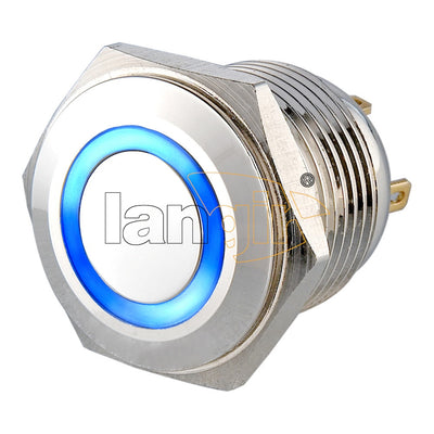 LS16(16MM) Pin Terminal 2A36VDC 1NO Ring Illuminated Anti Vandal Switch