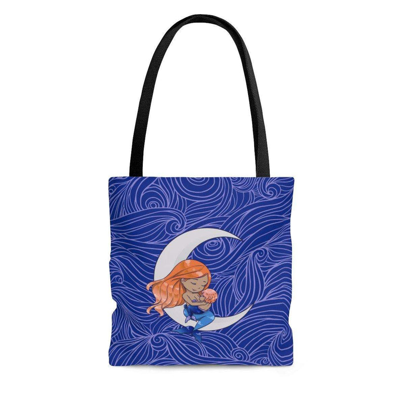 blue tote bag with breastfeeding nursing mermaid