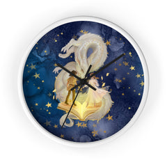 clock with boy girl and dragon
