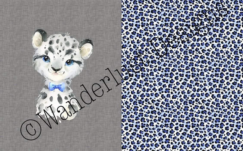 snow leopard blanket fabric panel minky squish