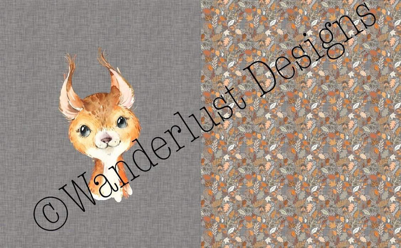 squirrel blanket panel fabric minky squish