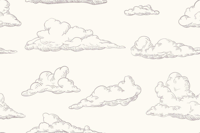 clouds on cream fabric