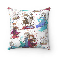Anna & Elsa Faux Suede Square Pillow Case - Free Domestic Shipping