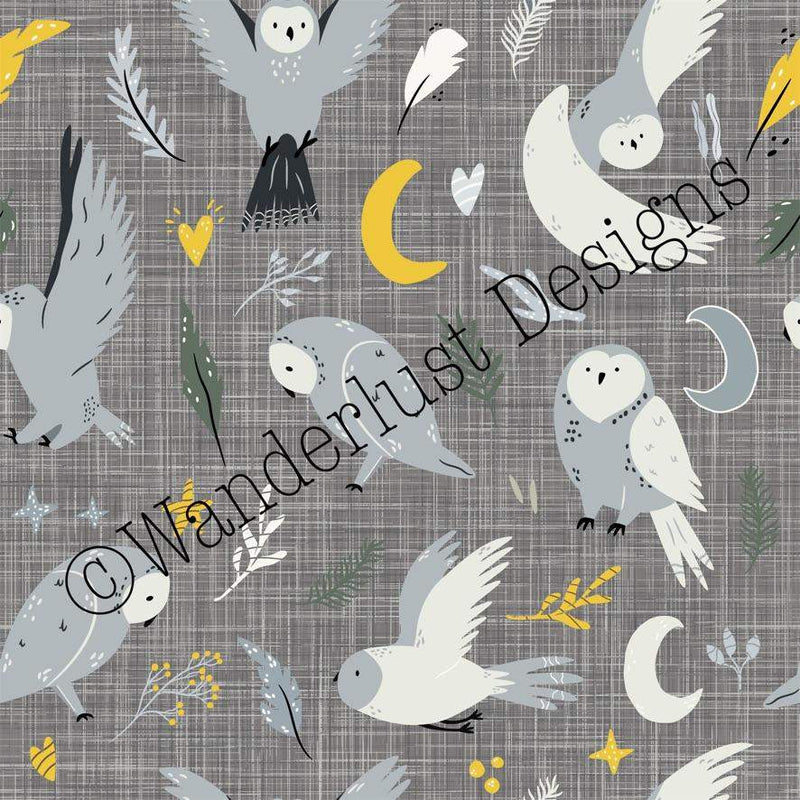 snowy owl fabric cotton lycra spandex woven french terry bamboo squish minky canvas athletic brushed poly