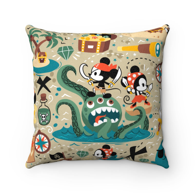 Pirate Faux Suede Square Pillow - Free Domestic Shipping