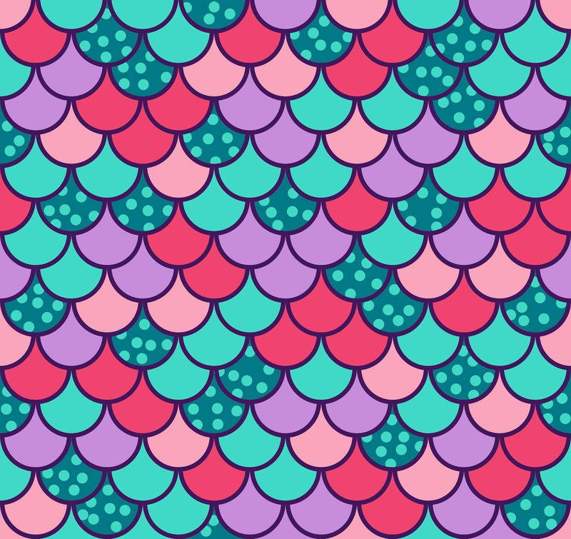 pink green purple mermaid scales fabric