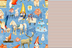 gnome stripe fabric matches gnome moose pig rabbit orange blue and cream