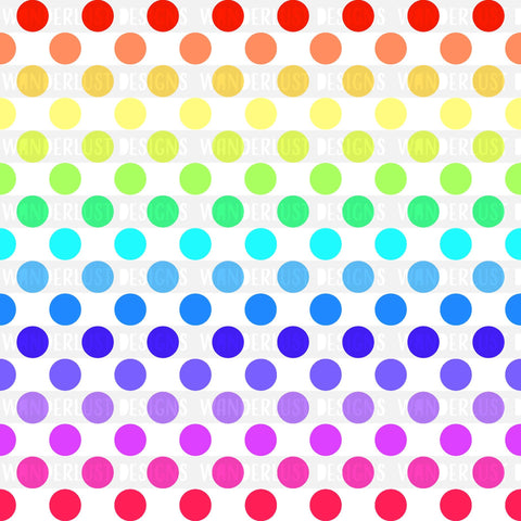 White Rainbow Polka Dot