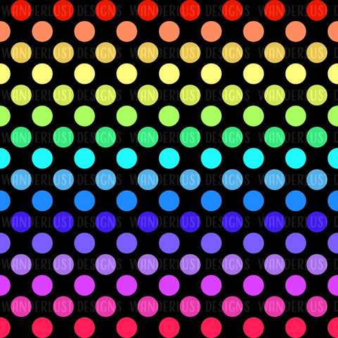 Black Rainbow Polka Dot