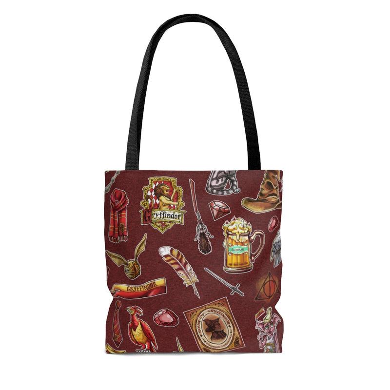 lion maroon tote bag