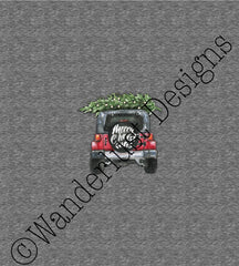 merry christmas on red jeep with christmas tree custom fabric panel cotton lycra minky bamboo french terry woven
