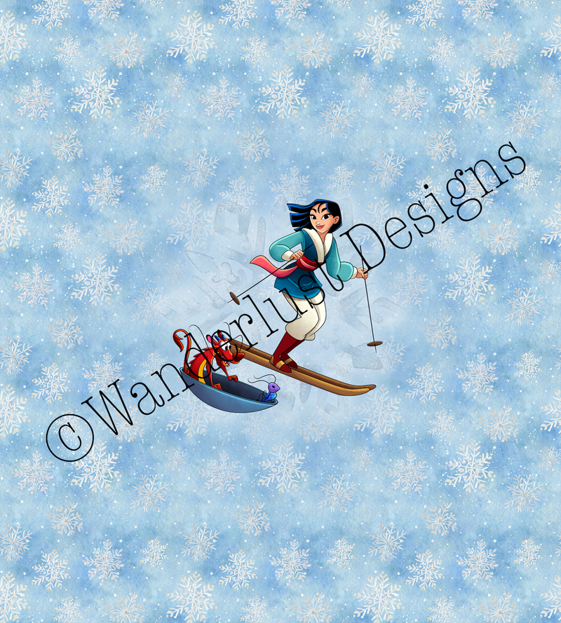 princess dragon fabric panel winter