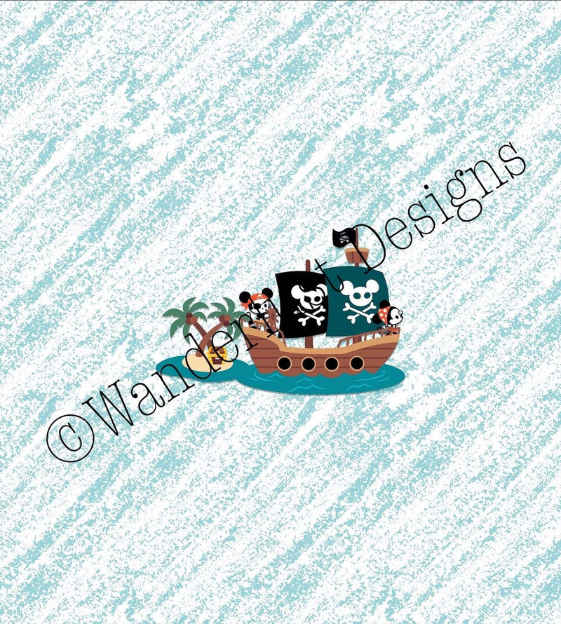 mouse pirate ship fabric panel