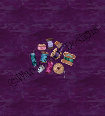 thread with purple background fabric panel