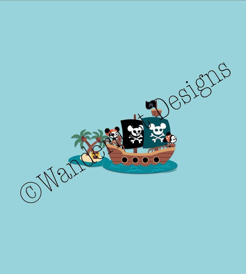 blue mouse pirate ship fabric panel