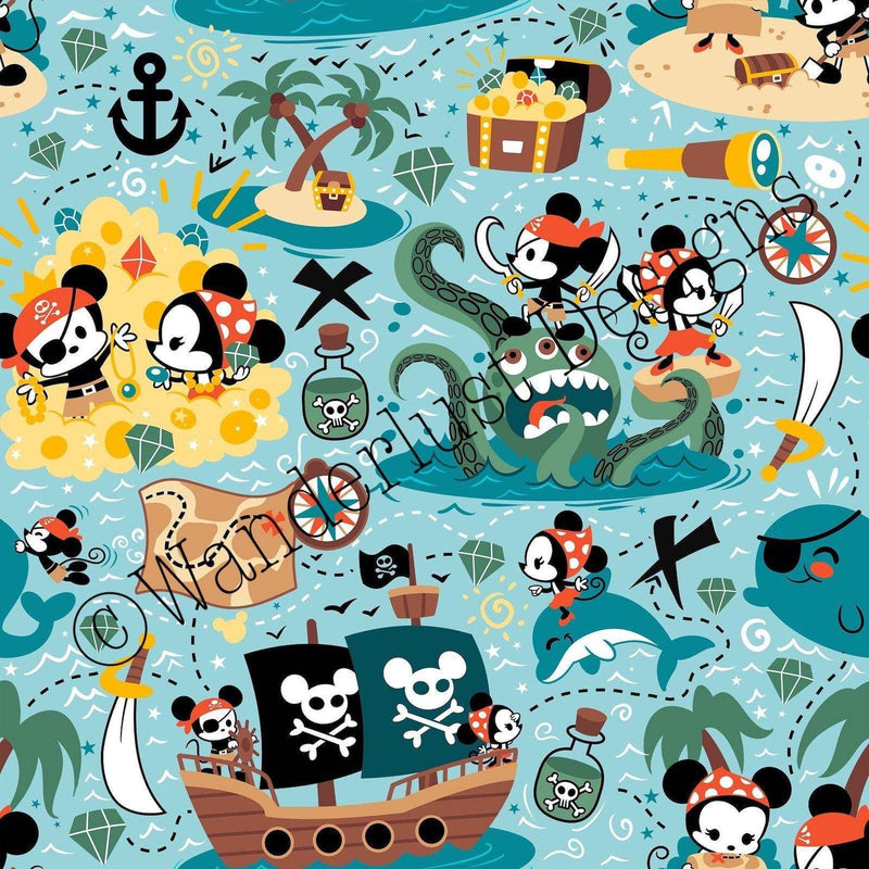blue mouse pirate fabric