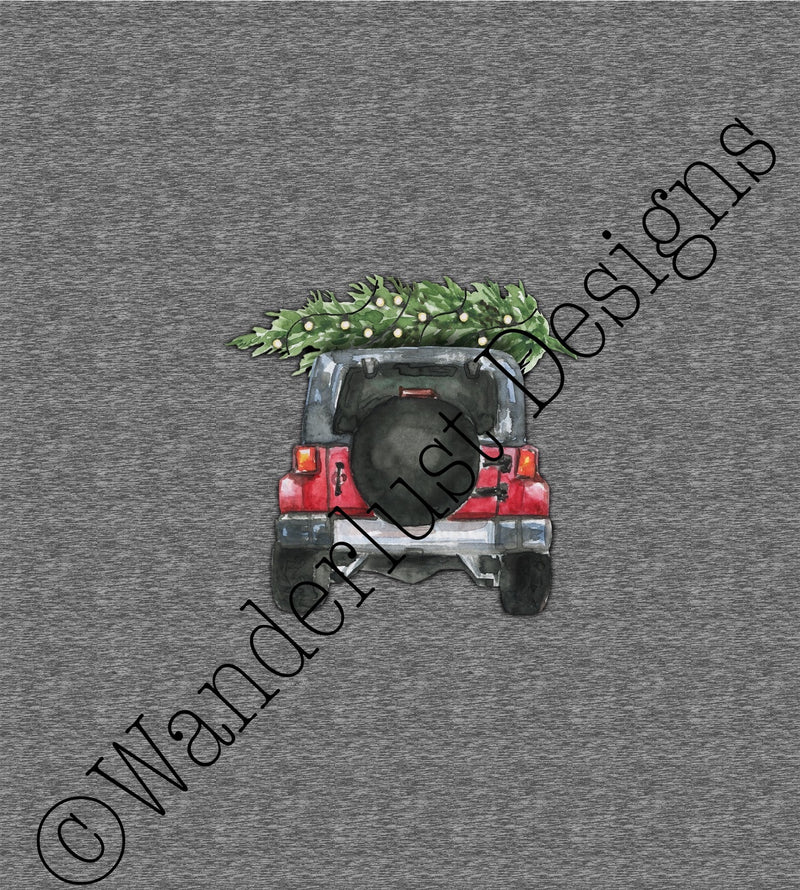 jeep christmas tree custom fabric panel cotton lycra minky bamboo french terry woven