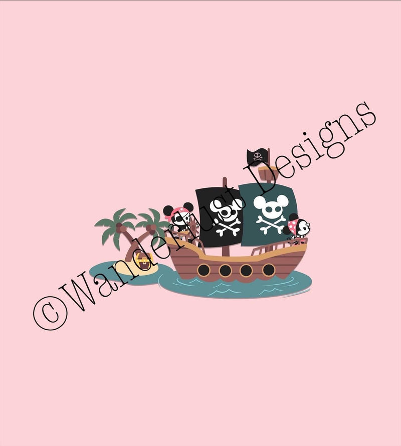 pink mouse pirate ship fabric panel