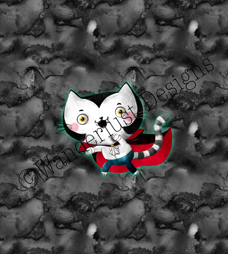 vampire kitty cat fabric panel