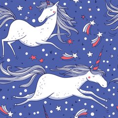 Unicorns on Blue