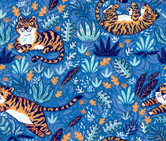 Tigers on Blue