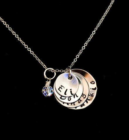 Hand Stamped Personalized Stainless Steel Four Disc Mother Necklace