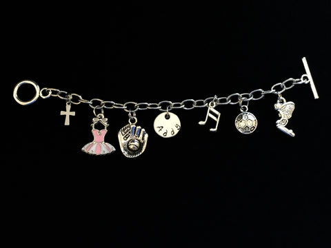 Hand Stamped Personalized Stainless Steel Childrens Charm Bracelet