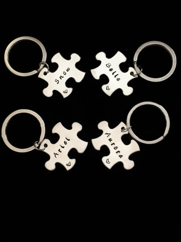 Hand Stamped Personalized Stainless Steel Bridesmaids / Best Friends Keychain
