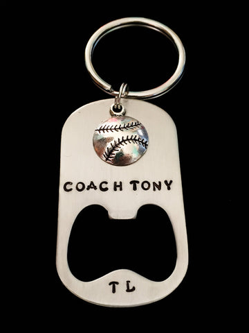 Hand Stamped Personalized Stainless Steel Coach Bottle Opener Keychain