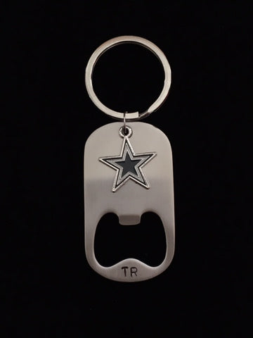 Hand Stamped Personalized Stainless Steel Cowboys Bottle Opener Keychain