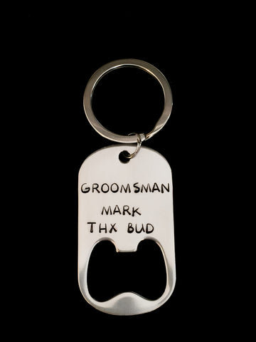 Hand Stamped Personalized Stainless Steel Groomsman Bottle Opener Keychain
