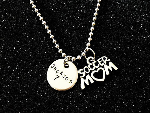Hand Stamped Personalized Stainless Steel Soccer Mom Necklace