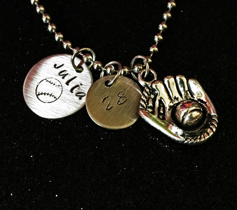 Hand Stamped Personalized Brushed Stainless Steel Softball/Baseball Necklace