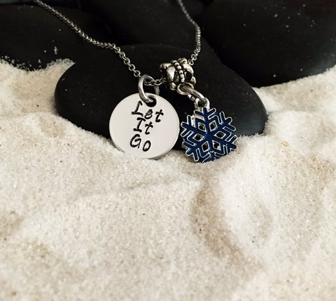 Hand Stamped Stainless Steel Let It Go Necklace