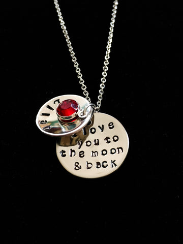 Hand Stamped Personalized Stainless Steel Two Disc I Love You To The Moon And Back Necklace