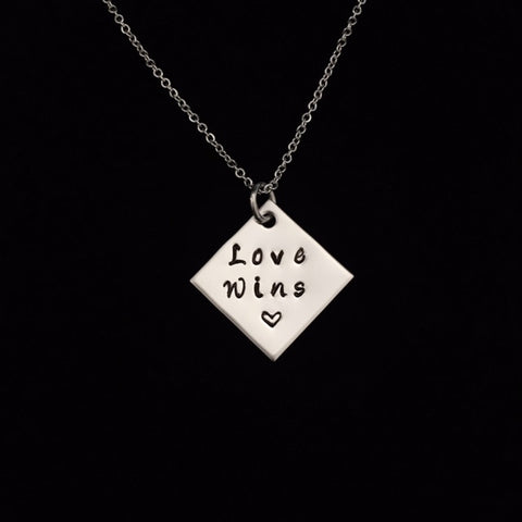 Hand Stamped Personalized Stainless Steel Love Wins Necklace