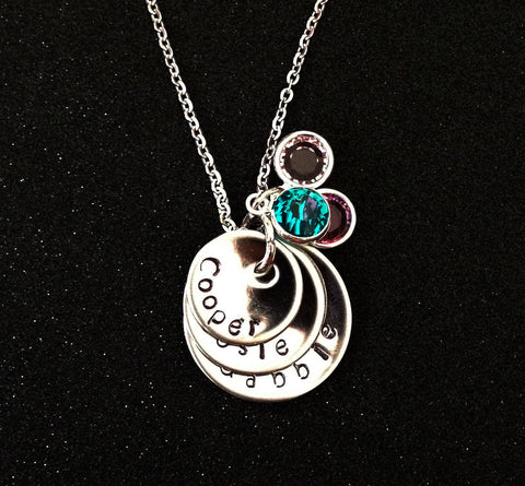 Hand Stamped Personalized Stainless Steel Three Disc Mother Necklace