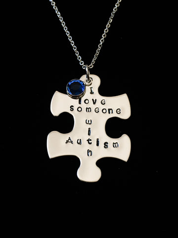 Hand Stamped Personalized Stainless Steel I love someone with Autism Necklace
