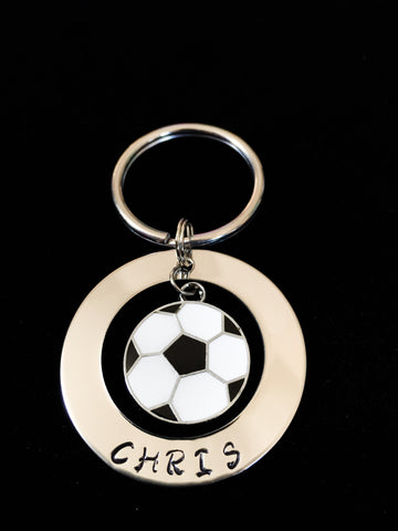 Hand Stamped Personalized Stainless Steel Enamel Soccer Keychain