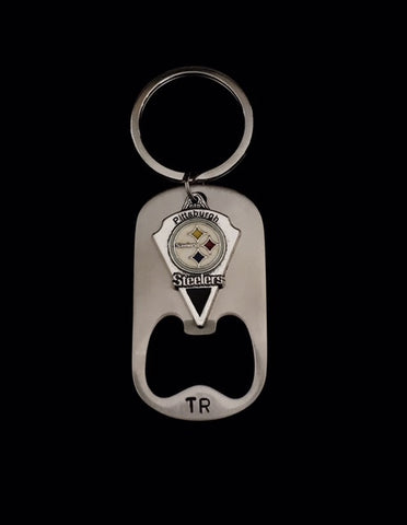 Hand Stamped Personalized Stainless Steel Steelers Bottle Opener Keychain