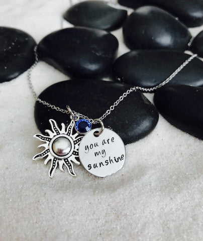 Hand Stamped Personalized Stainless Steel You Are My Sunshine Necklace