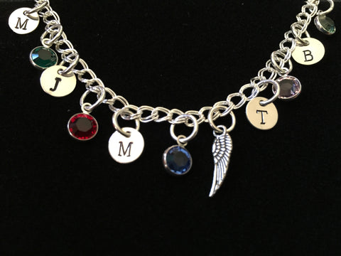 Hand Stamped Personalized Sterling Silver Initial Charm Bracelet