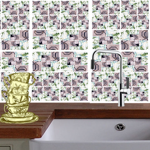 StickPretty Mosaic Tile Decals: Michelin Man & Green Tea Cupcake Icing